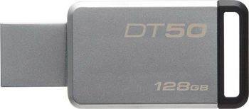 128GB USB3.1 Kingston DataTraveler 50 64GB Silver/Black, USB 3.1, Metal casing, Compact, lightweight, capless design, (Read 110 MByte/s, Write 15 MByte/s)
