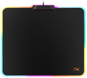 HYPERX FURY Ultra Gaming Mouse Pad with RGB 360°, Size 360mm x 300mm, Plastic, Stable, Anti-slip rubber base, Compatible with optical or laser mice, Micro-textured hard surface for performance and speed, USB cable 1.8m, Black