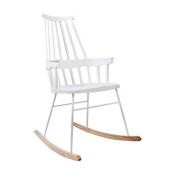 купить Деревянный стул с высокой спинкой, металлическими ножками, качели, 730x610x990 мм, белый в Кишинёве