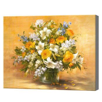 Buchet florilor de camp, 30x40 cm, mozaic cu diamante