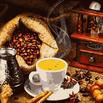 """PN5853 Картина по номерам Artissimo """"Ароматный кофе"""", 4 *, 16 цветов, 40x50 см"""