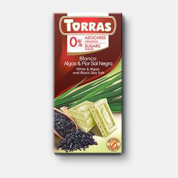 Шоколад белый с морской водорослю с морской солю без сахара без глютена Torras 75г