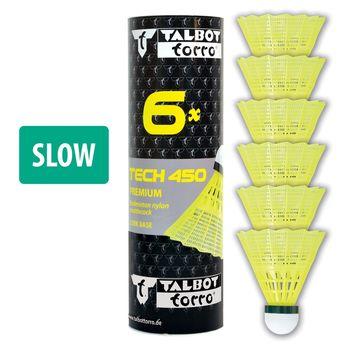 """Воланчик для бадминтона """"Slow"""" (нейлон, пробка) Talbot Torro Tech450 469283 yellow-green (4695)"""