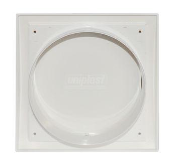 купить Выход стенной вытяжной с обратным клапаном 190 х190 с фланцем Ø150mm (белый) ND15FV Europlast в Кишинёве