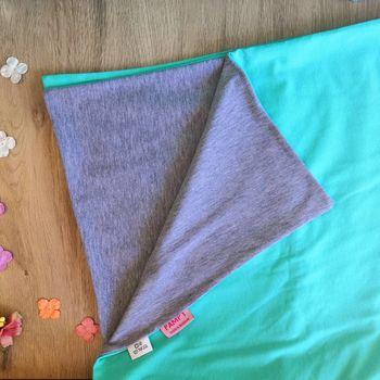 Одеялко для новорожденных PAMPY мятный  с серым