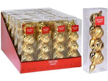 Набор украшений елочных 4шт Юла 11X6сm, пластик, золотой