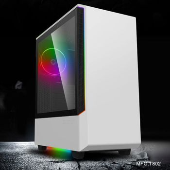 купить Case ATX GAMEMAX Panda T802, 1x120mm ARGB fan, 3xARGB LED strip, PWM/Rainbow HUB, USB3.0, TG, White в Кишинёве