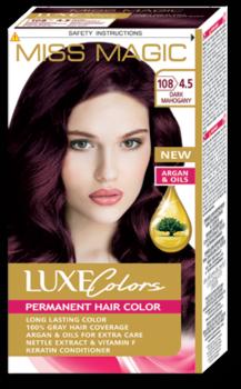 Краска для волос,SOLVEX Miss Magic Luxe Colors, 108 мл., 108 (4.5) - Тёмно-махагоновый