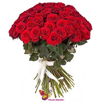 купить Монобукет из эквадорских красных роз  50CM в Кишинёве