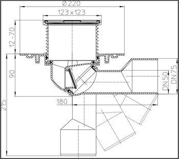 купить Трап ПП регулируемый DN50/75 для балкона /терассы (123x123 нерж) HL80 M в Кишинёве