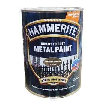 Hammerite Краска для металла Коричневая молотковая 5л