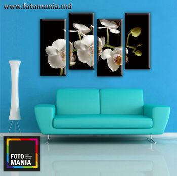 Картина напечатанная на холсте - Триптих из 4 частей Цветы 0010