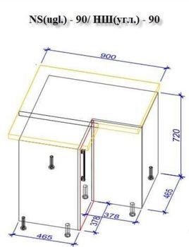 Кухонный гарнитур Bafimob Corner (High Gloss) 3.4x1.7m White/Black