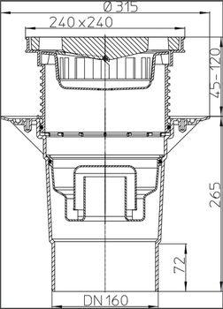 купить Трап внутр. регулир.DN160 ( 240 х 240мм чугун) 7т  HL616W/5  М в Кишинёве