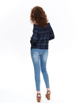 Блуза TOP SECRET Темно синий в клетку sbd1106