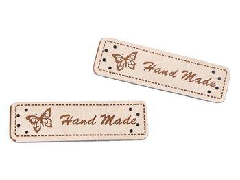 Eticheta din piele ecologică Handmade / crem deschis