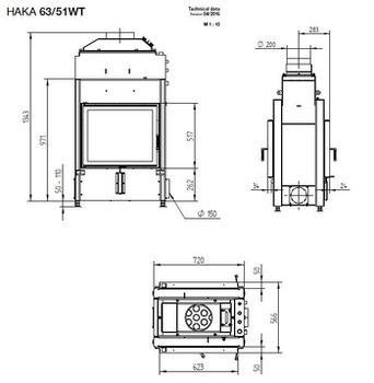 Каминная топка - HOXTER HAKA 63/51WТ - с водяным теплообменником.