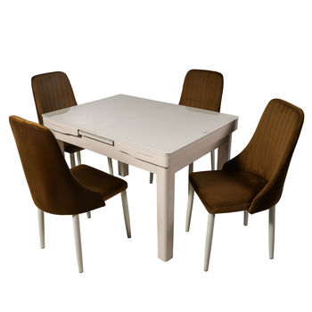 Комплект раздвижных столов DT A30 слоновая кость + 4 стула DC A13 капучино