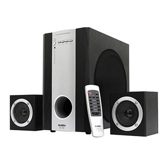 """Speakers SVEN MS-1060R Black,  2.1 / 30W + 2x15W RMS, remote control, all wooden, (sub.6.5"""" + satl.3"""")"""