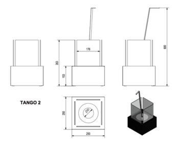 Биокамин - TANGO 2 белый настольный/напольный