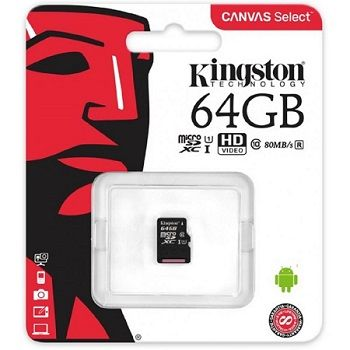 64GB microSD Class10 UHS-I  Kingston Canvas Select, 400x, Up to: 80MB/s