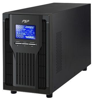 FSP Champ CH-1102TS Tower SmartUPS Online 2000VA/1800W, LCD Display, AVR, True double conversion, Pure Sinewave, Input voltage (130V–280V), Input Connector IEC 320 C14, Output Connector 4*IEC, USB&RS-232 Ports, 397x145x237 mm, 17.0 kg