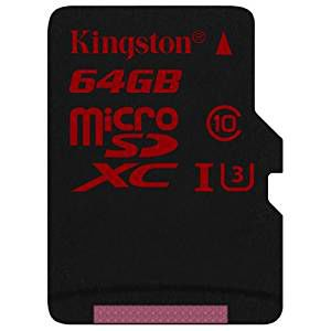 Kingston 64GB microSDXC Class10 UHS-I U3 with SD adapter, Ultimate, 633x, Read: 90Mb/s, Write: 80Mb/s