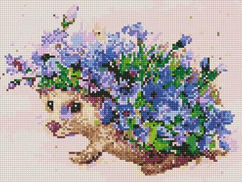 Ёжик с цветам, 30x40 см, алмазная мозаика Артукул: QS201089