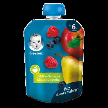 Пюре Gerber яблоко-груша-малина-черника, с 6 месяцев, 90г