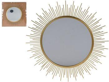 Зеркало декоративное Лучи солнца 40X40X1cm, металл, золотой