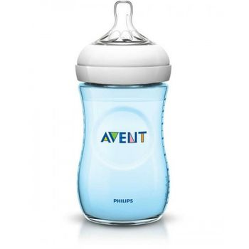 купить Бутылочка Philips AVENT Natural c силиконовой соской 260 мл (0-6 мес) голубая в Кишинёве