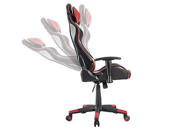 Lumi Gaming Chair with Headrest & Lumbar Support CH06-1, Black/Red, 2D Armrest, 350mm Nylon Base, 60mm PU Caster, 100mm Class 3 Gas Lift, Weight Capacity 150 Kg