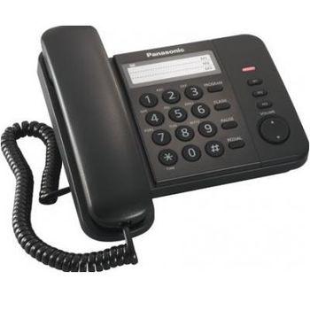 """Telephone Panasonic KX-TS2352UAB, Black, индикатор вызова,  однокнопочный набор 3 номера, порт для доп. телеф. оборуд., повторный набор последнего номера,  кнопка """"флэш"""", кнопка """"пауза"""", переключение тон./имп. набора, 4 уровня громкости звонка"""