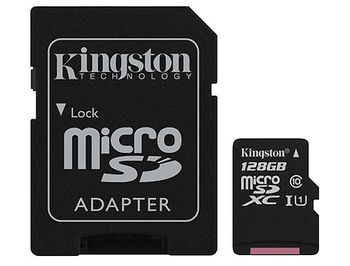 128GB Kingston Canvas Select Plus SDCS2/128GB microSDHC, 100MB/s, (Class 10 UHS-I) + Adapter MicroSD->SD (card de memorie/карта памяти)