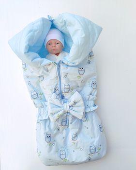 Конвертик трансформер для новорожденных PAMPY голубой Совушки