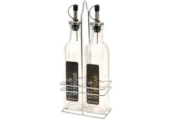 Набор бутылок для масла и уксуса+подставка, стекло/нерж