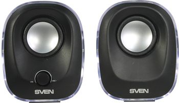 SVEN 330 Black (USB),  2.0 / 2x2,5W RMS, Effective multi-colored LED, USB power supply, headphone jack, microphone input, 2.2""