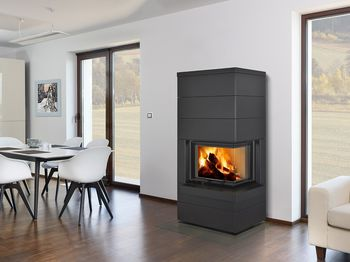 Дизайнерская аккумуляционная каминная печь ROMOTOP CARA R/L 03 - с подъемной дверцей и гнутым угловым стеклом