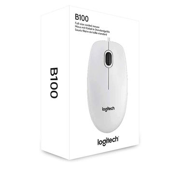 Logitech B100 Optical Mouse (white), USB,  910-003360 (mouse/мышь)