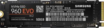 M.2 NVMe SSD 500GB  Samsung SSD 960 EVO, Interface: PCIe3.0 x4 / NVMe1.2, M2 Type 2280 form factor, Sequential Read: 3200 MB/s, Sequential Write: 1800 MB/s, Max Random 4k: Read / Write: 330,000 IOPS, Samsung Polaris controller, 3D TLC V-NAND