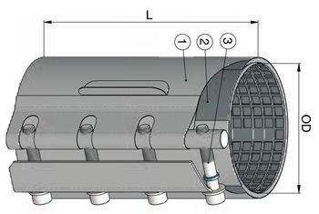 купить Хомут ремонтный dn 165-175мм PN16, L=300mm (однополосный) WATO в Кишинёве