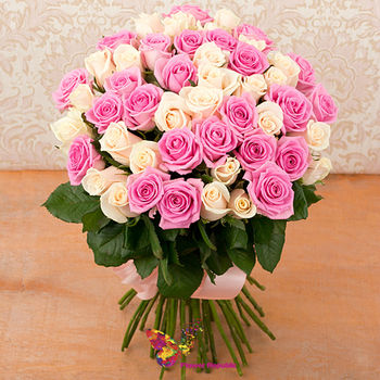 купить Букет из 51 розово- кремовой эквадорской розы 60-70 см в Кишинёве