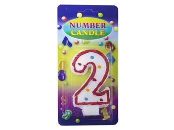 Свеча-цифра 2 (с точками)