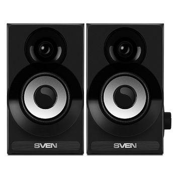 "SVEN SPS-517 Black, 2.0 / 2x3W RMS, USB or 5V DC power supply, volume control, wooden, 2.4"", Black"