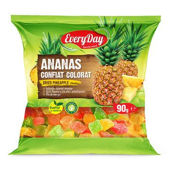 Ananas confiat, cubuțete, colorat, 90g