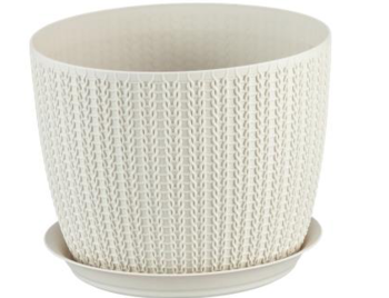 купить Горшок для цветов пластиковый Idea М3121 Вязание белый, 2.8 л в Кишинёве