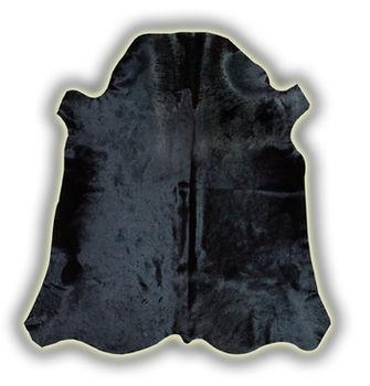 Ковер из натуральной кожи COW DIED BLACK SKIN, глубокий черный