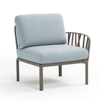 Кресло модуль правый / левый с подушками Nardi KOMODO ELEMENTO TERMINALE DX/SX TORTORA-ghiaccio Sunbrella 40372.10.138