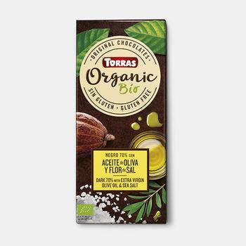 Ciocolata amara cu ulei de olive și sare de mare bio f/a gluten Torras 100g