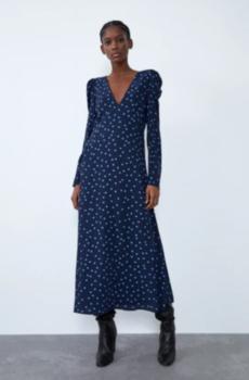 Платье ZARA Синий в горошек 8342/355/401